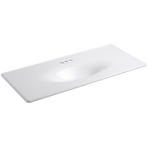 "Kohler Iron/Impressions 49"" One-Piece Surface with Integrated Lavatory and 4"" Centers"