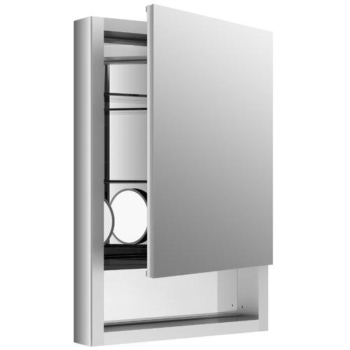 Cabinet with adjustable magnifying mirror slow close door open shelf