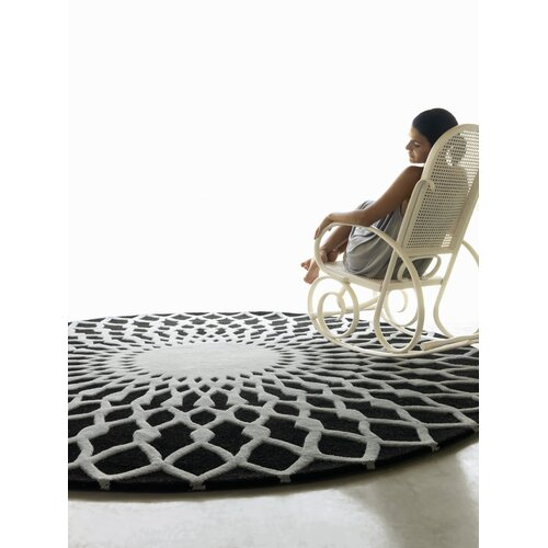 Gandia Blasco Hand Tufted Trama Black Geometric Area Rug