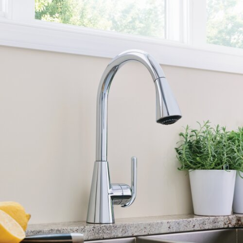 Ascent One Handle Single Hole High Arc Pull Down Kitchen Faucet