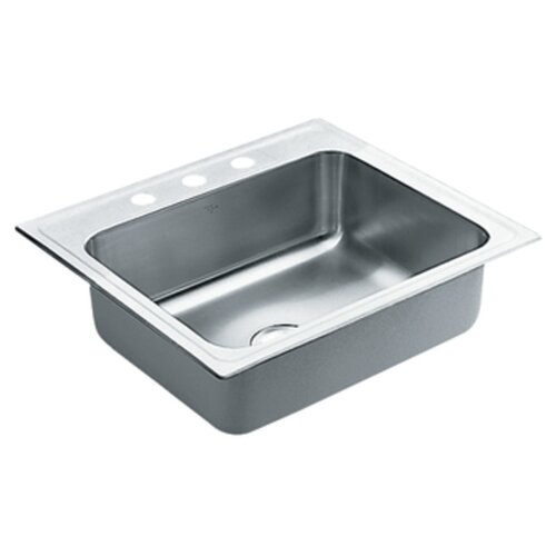 "Moen Commercial 24.38"" x 21.38"" 18 Gauge Single Bowl Kitchen Sink"