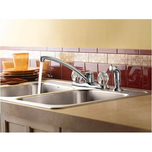 Moen Protege Two Handle Centerset Kitchen Faucet with White Side Spray