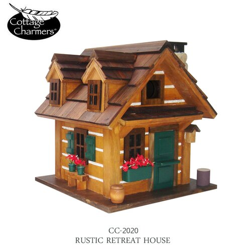 Home Bazaar Cottage Charmer Series Rustic Retreat Free Standing Birdhouse