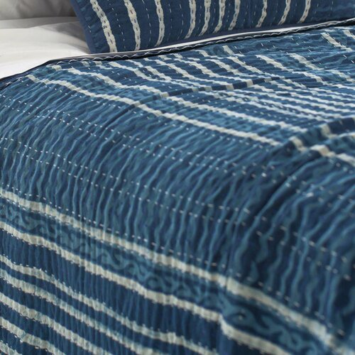 Pine Cone Hill Resist Kantha Cotton Coverlet