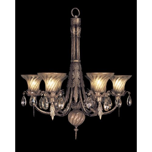 Fine Art Lamps A Midsummer Nights Dream Six Light Chandelier in Cool Moonlit Patina