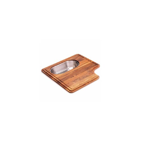 Pro-Series Wood Cutting Board with Steel Colander in Teak
