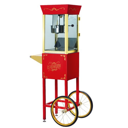 Great Northern Popcorn Matinee 8 Ounce Movie Antique Popcorn Machine with Cart