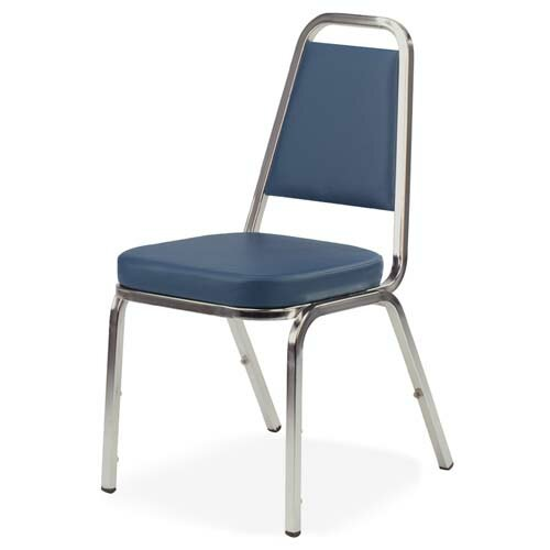 Lorell Stacking Chair, 4 per Carton, Blue/Chrome Frame