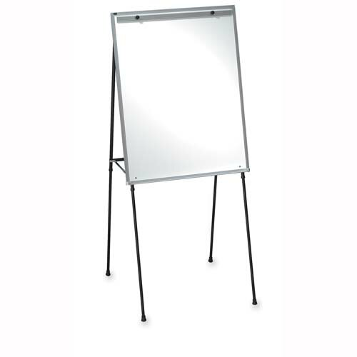 "Lorell Dry-Erase Board Easel, Rubber Feet, 40""-70"", Black"