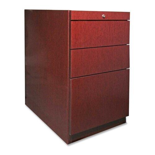 Lorell 88000 Series File Pedestal, Box/Box/File, Mahogany