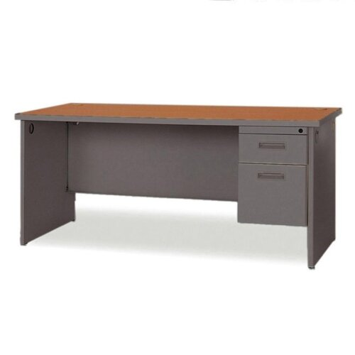 Lorell Durable Single Pedestal Computer Desk with 2 Grommets
