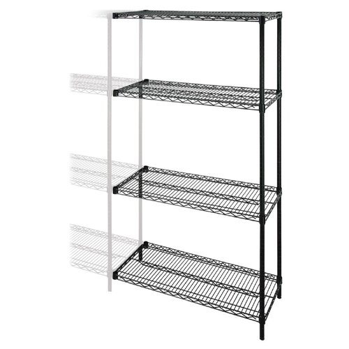 "Lorell Industrial Adjustable Wire 72"" H 3 Shelf Shelving Unit Add-On"