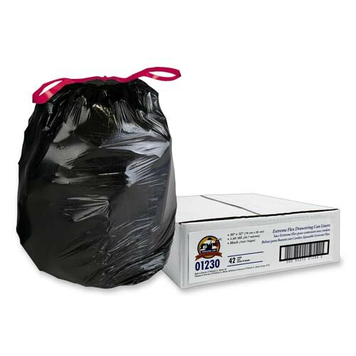 Genuine Joe Black Flex Drawstring Trash Liners , Black