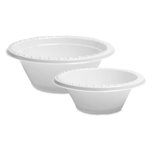 Genuine Joe Reusable/Disposable Plastic Bowls, White