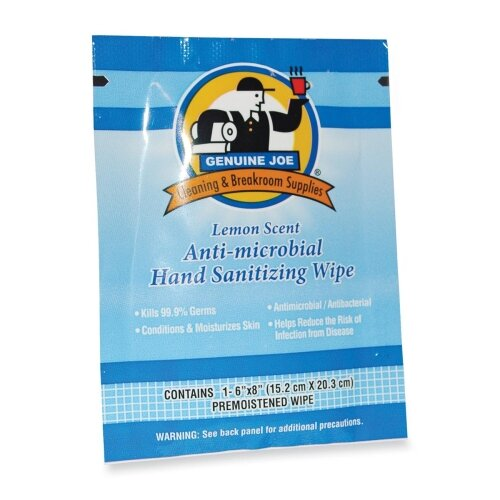 Genuine Joe Hand Sanitizer Wipes, Low-Alcohol, 100 per Carton, Lemon Scent