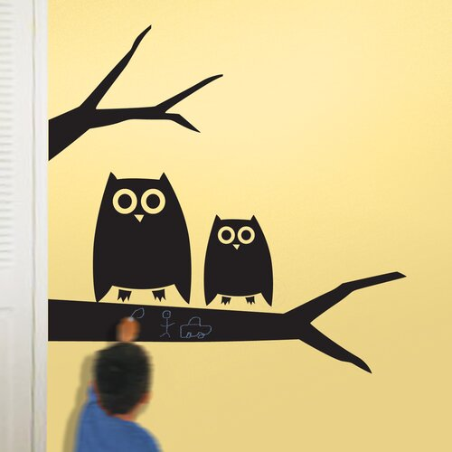 Peel and Stick Chalkboard Hootie Wall Decal Set