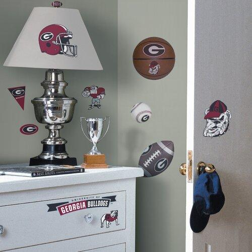 Room Mates Collegiate Sports 26 Piece Appliqué University of Georgia Bulldogs Wall Decal Set