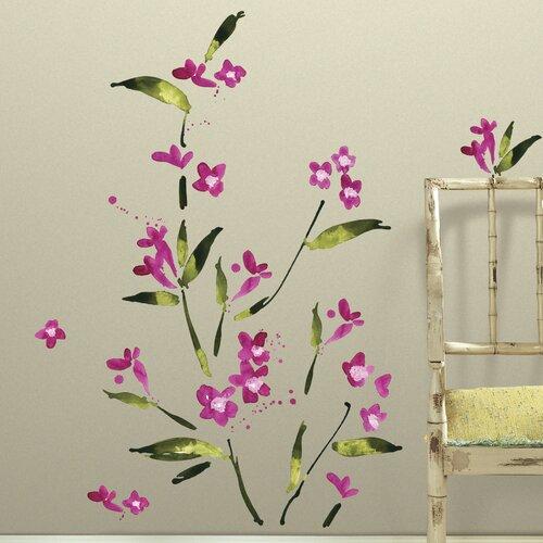 Mates 35 piece deco flower arrangement peel and stick wall decal set