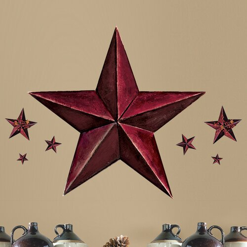 Room Mates 18 Piece Peel & Stick Giant Wall Decals/Wall Stickers Barn Star Wall Decal Set