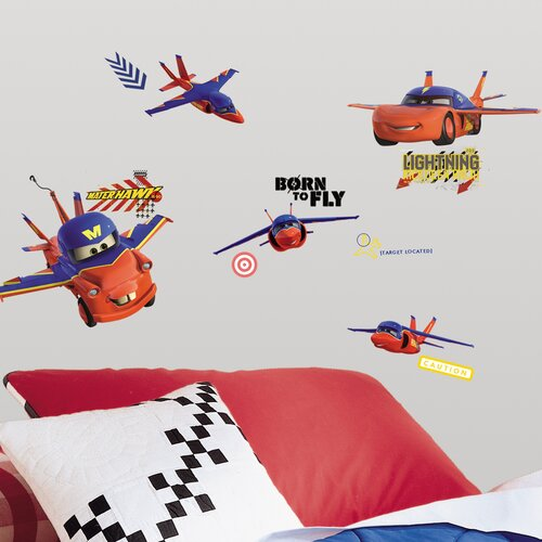 Room Mates 44 Piece Peel & Stick Wall Decals/Wall Stickers Cars Air Mater Wall Decal Set