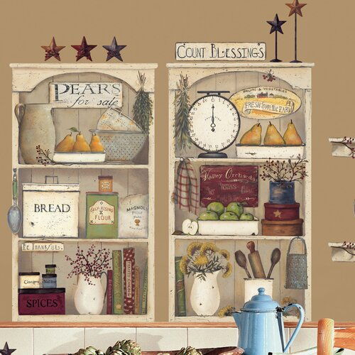 Room mates 17 piece peel stick giant wall decals wall for Peel and stick wallpaper for kitchen
