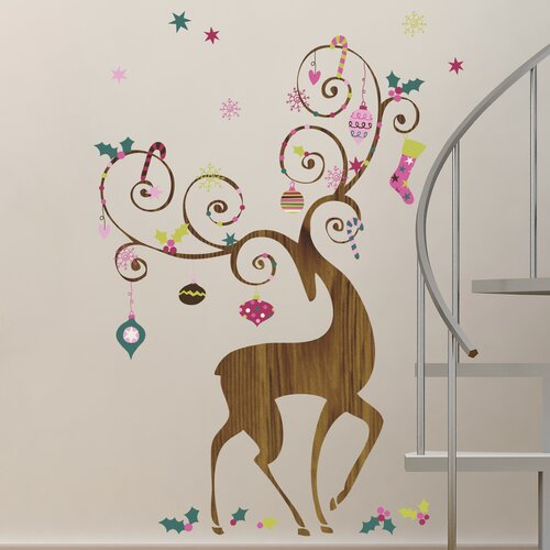 46 Piece Seasonal Ornamental Reindeer Peel and Stick Giant Wall Decals Set