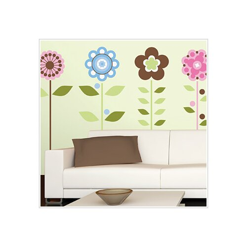 Room Mates 45 Piece Deco Growing Flowers Wall Decal Set
