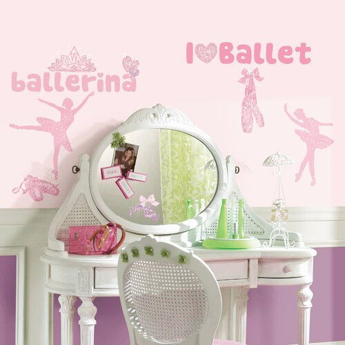 Ballet Peel and Stick Wall Decal with Glitter