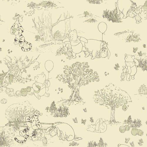 Room Mates Winnie The Pooh Toile Wallpaper