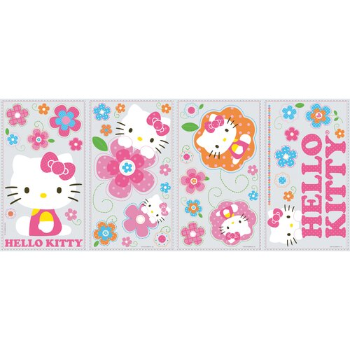 39 Piece Peel & Stick Giant Wall Decals/Wall Stickers Hello Kitty Floral Boutique Wall Decal ...