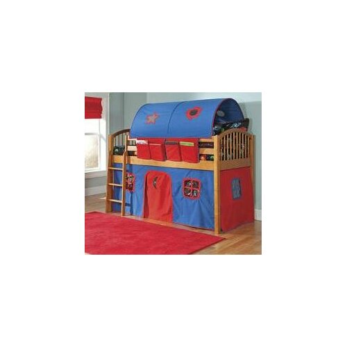 Alaterre Mansfield Junior Twin Low Loft Bed with Built-In Ladder and Tent