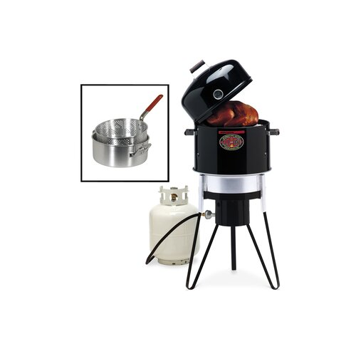 All-In-One Charcoal / Gas Stove / Fryer with Pan and Basket Set