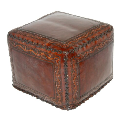 New World Trading Classic Stitch Leather Cube Ottoman