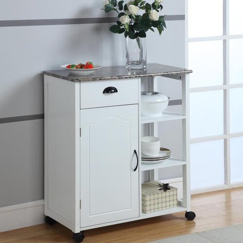 InRoom Designs Kitchen Cart with Marble Laminate Top
