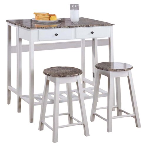 InRoom Designs Breakfast 3 Piece Dining Table Set