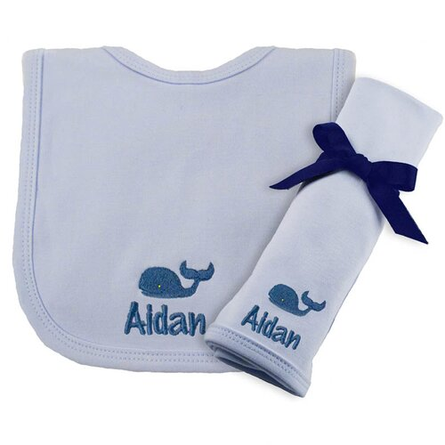Princess Linens Cotton Knit Bib and Burp Pad Set with Whale Motif in Blue