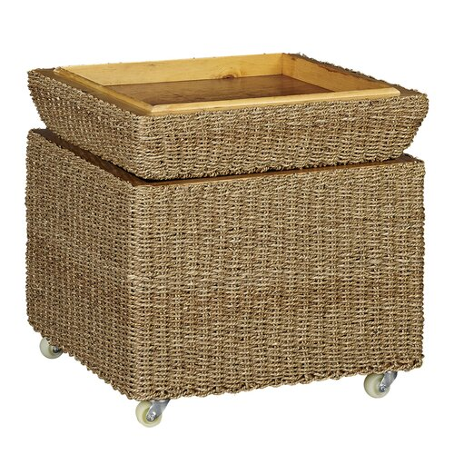 Household Essentials Rolling Seagrass Wicker Storage Seat