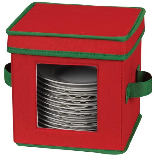 Household Essentials Storage and Organization Holiday Saucer Chest in Red and Green