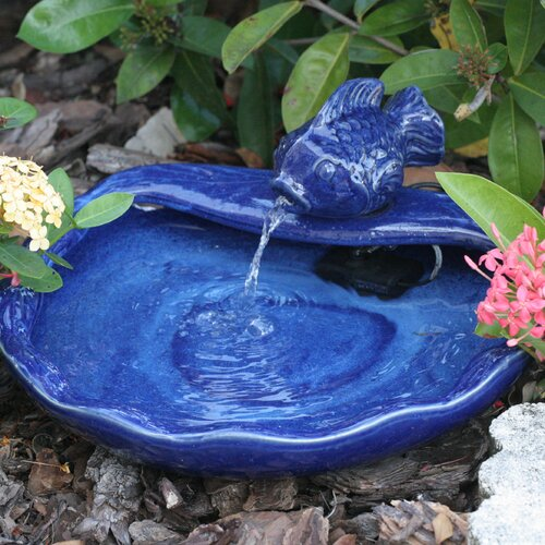 Solar Water Features Ceramic Koi Fountain
