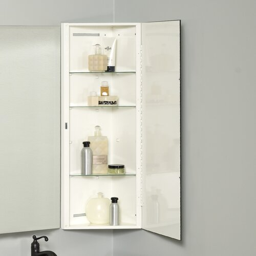 Zenith x 36 corner mount beveled edge medicine for Bathroom medicine cabinets 14 x 18