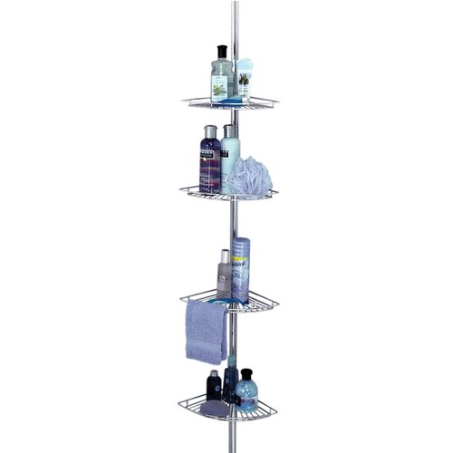 Zenith Products Pole Caddy with Wire Shelves in Chrome
