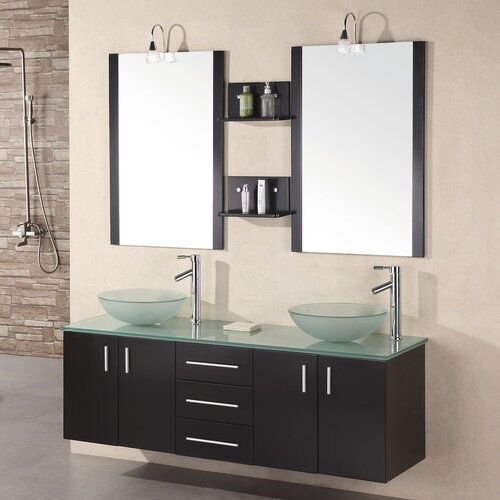 design element modena 61 double bathroom vanity set with mirror reviews wayfair. Black Bedroom Furniture Sets. Home Design Ideas
