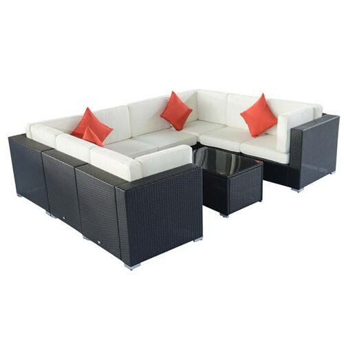 Outsunny 9 Piece Left/Right Arm Dual Sectional Sofa Set with Cushions