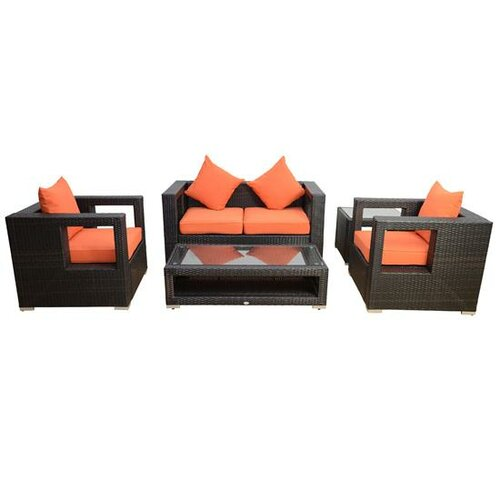 Outsunny 5 Piece Left/Right Arm Sectional Loveseat Sofa Set with Cushions