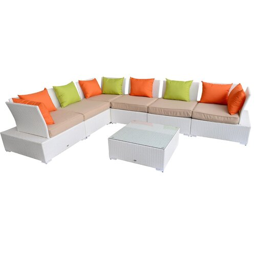 Outsunny 7 Piece Outdoor PE Rattan Wicker Sectional Lounge Seating Group Couch Sofa Set with ...