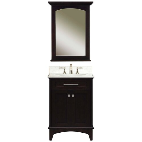 "Water Creation Water Creation Manhattan 24B 24"" Dark Espresso Single Sink Bathroom Vanity And Manhattan-M-2130 Matching Mirror"
