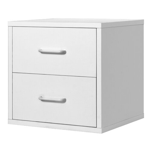 Modular Storage Cube with Two Drawers in White