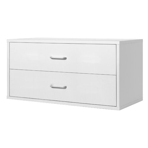 Modular Storage Large Two Drawer Cube in White