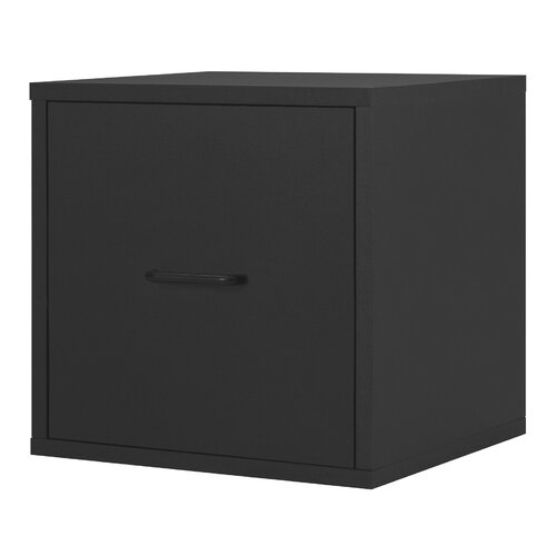 Modular Storage Cube with File Drawer in Black