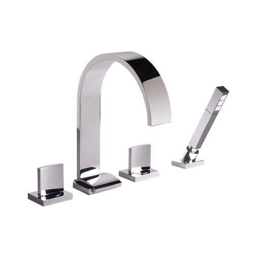 Graff Sade Double Handle Deck Mounted Roman Tub Filler with Handshower